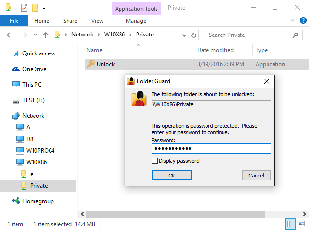 Protecting shared folders with passwords