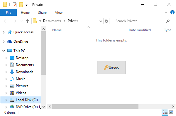 set password to folder in windows 8.1
