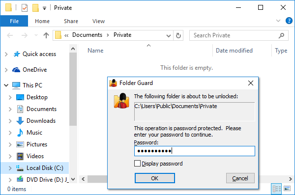 To open a password protected folder you must enter your password first