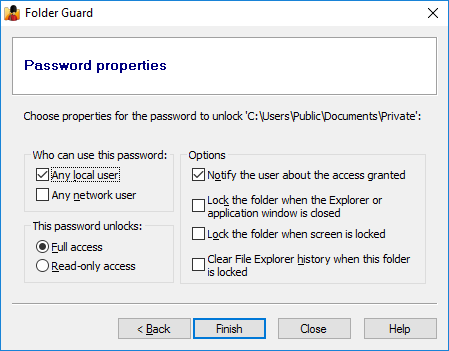Properties for the folder password