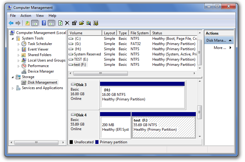 Windows 7 Computer Management console