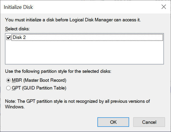 Disk Management prompts you to initialize the disk