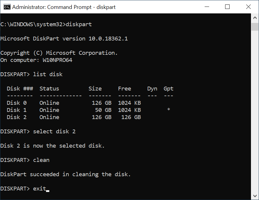 Using command prompt and DISKPART to erase a disk
