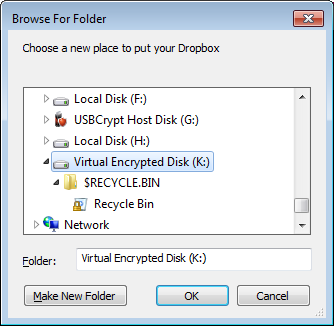 Select the encrypted drive to store the Dropbox folder