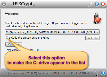 The option to include the system drive in the USBCrypt list