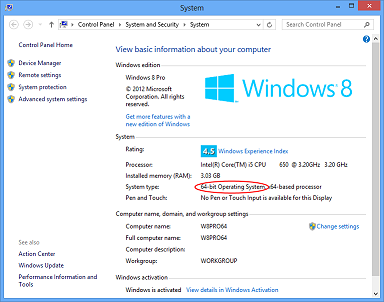 The System Properties window on a Windows 8 computer.