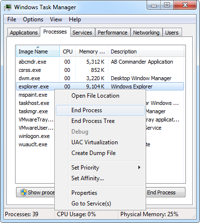 Use Task Manager to end Windows Explorer process