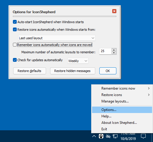 Icon Shepherd options screen with the option to remember icon layouts automatically deselected