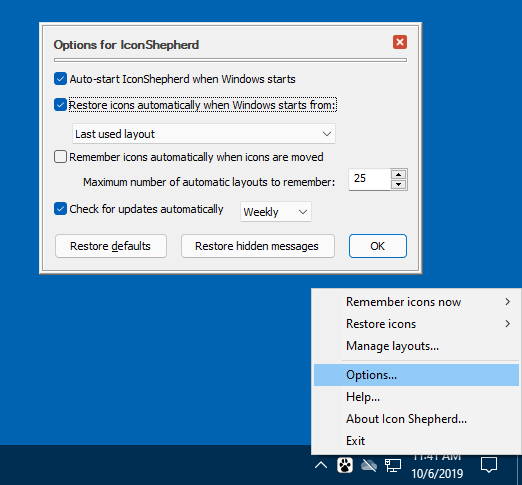 Icon Shepherd options screen with the option to automatically restore a specific icon layout on start