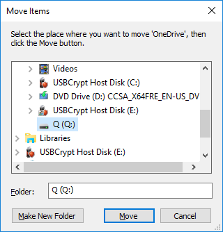 Select the encrypted drive as the destination folder for OneDrive folder
