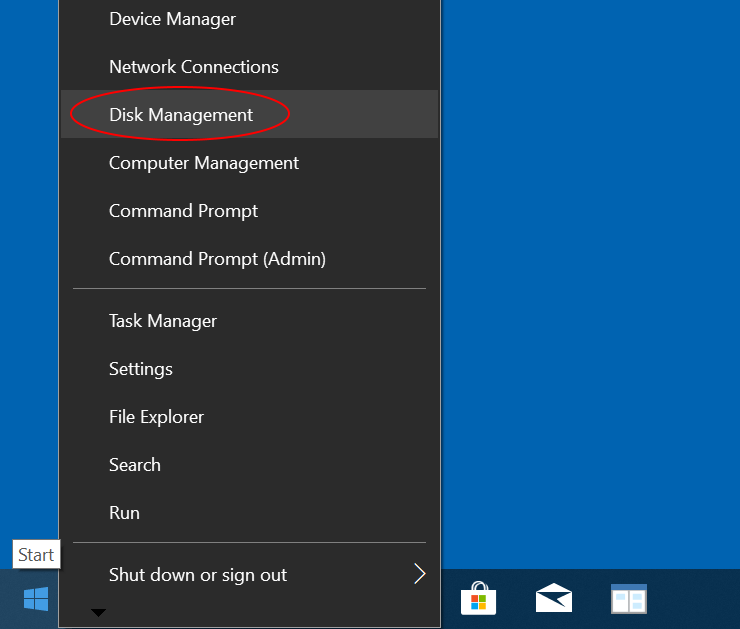 You can open Disk Management tool by right-clicking on the Start button.
