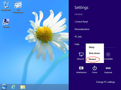 The Power menu of Windows 8