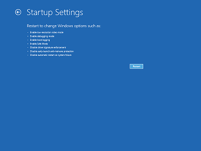 The Startup settings screen of Windows 8