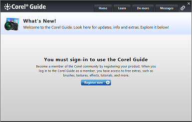 The Corel Guide sign up screen.