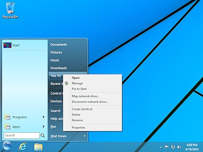 StartFinity Start Menu supports the standard right-click menu.