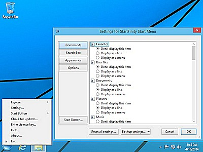 StartFinity Start Menu for Windows 8 is customizable