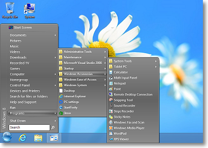 StartFinity Start Menu contains the Programs menu.