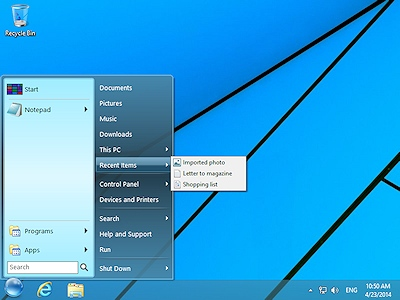 StartFinity Start Menu for Windows 8 keeps track of the recently used documents