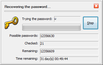The progress of the Recover Password command of USBCrypt