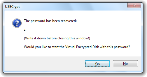 The successful result of the Recover Password command of USBCrypt