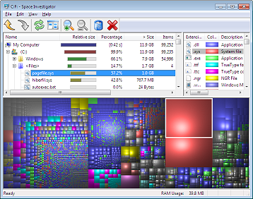 Space Investigator makes it easy to analyze how the hard drive space is used by files and folders.