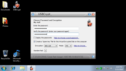 Choose a strong password for the encrypted USB drive