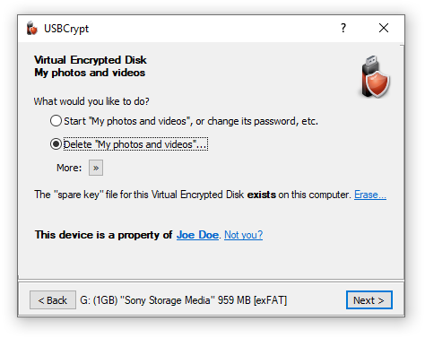 Encrypting USB drive: How to decrypt the drive back